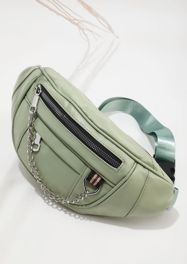 CLOSE TO PASTELS GREEN FANNY PACK