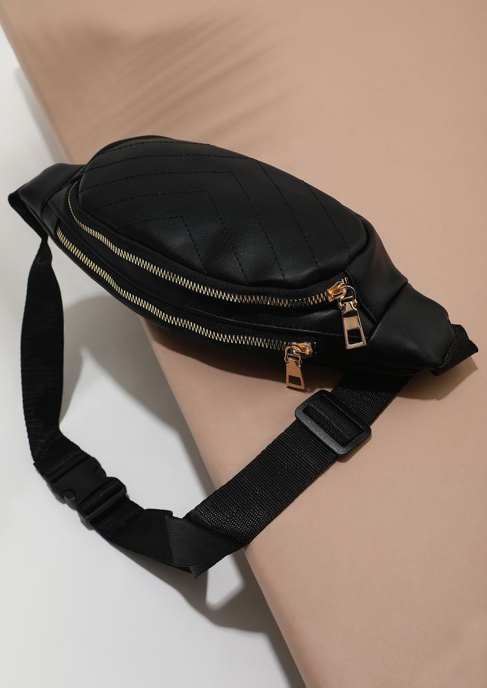 RATHER BE OUTDOORS THAN INDOORS BLACK FANNY PACK