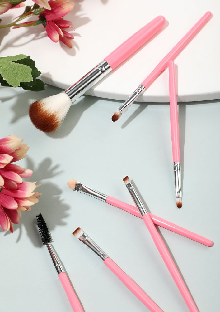SETTLE ONLY FOR SHINE PINK MAKEUP BRUSHES- SET OF 7