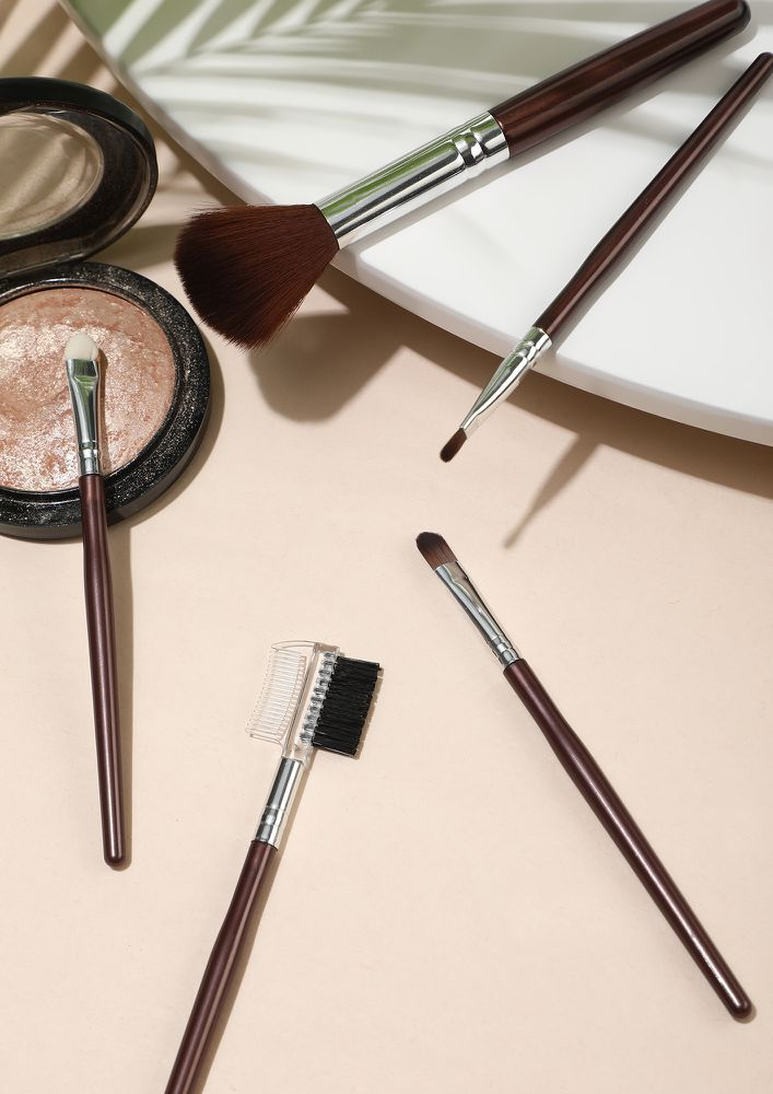 DRIZZLE BROWN MAKEUP BRUSHES- SET OF 5