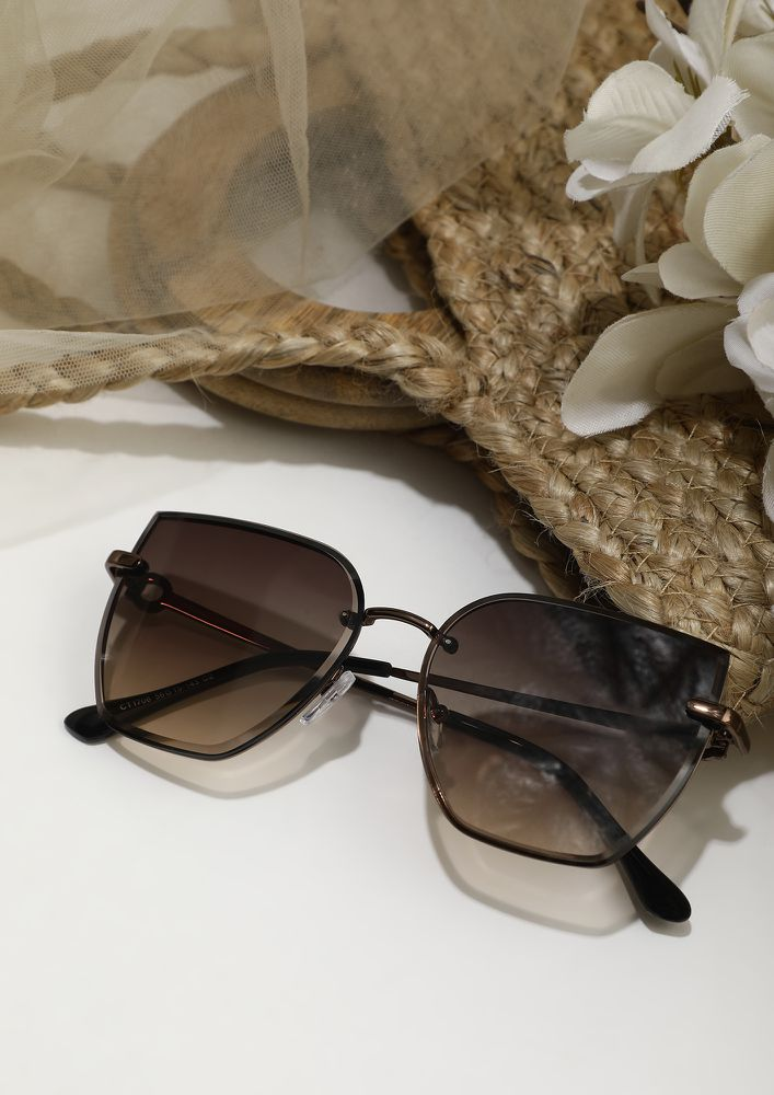 AT THE EDGE OF FASHION BROWN GREY SUNGLASSES