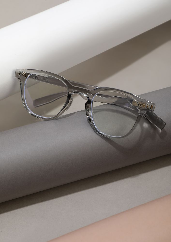 COVER ME UP IN CLEAR TRANSPARENT GREY GLASSES