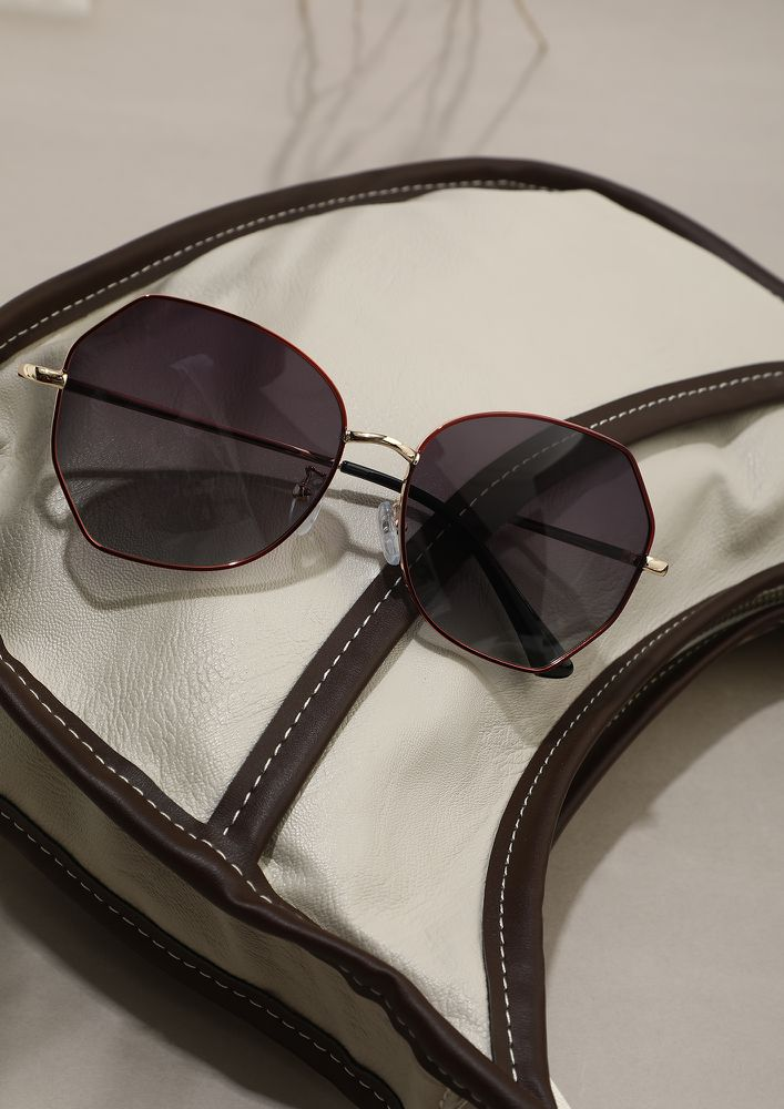 DON'T OVERTHINK STYLE RED GREY RETRO SUNGLASSES