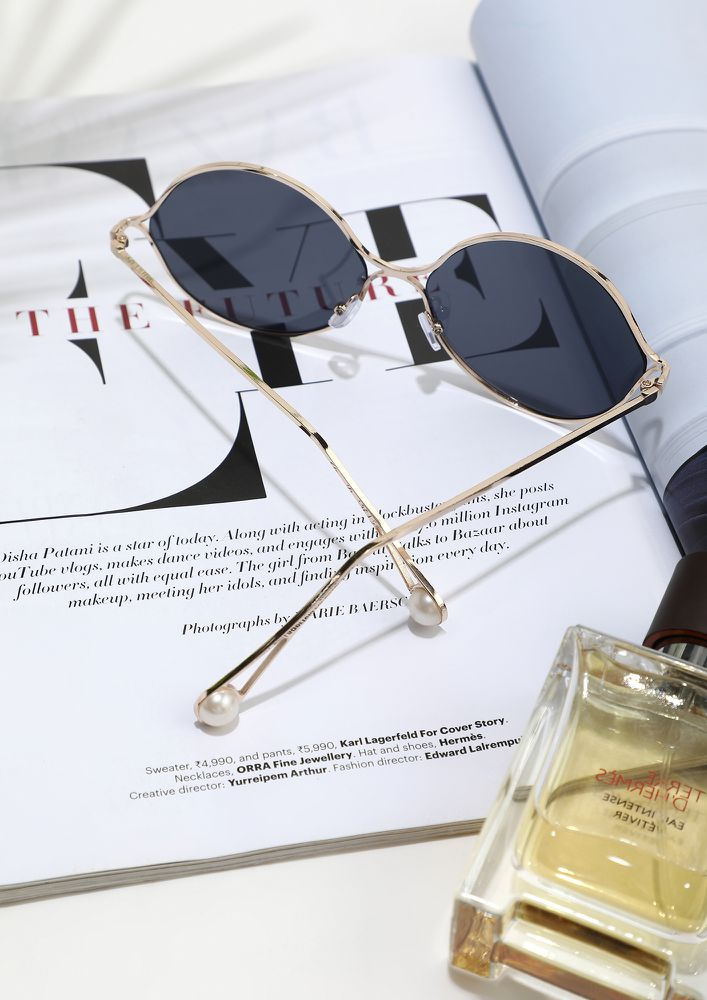 AROUND YOU FOREVER GOLD GREY ROUND SUNGLASSES