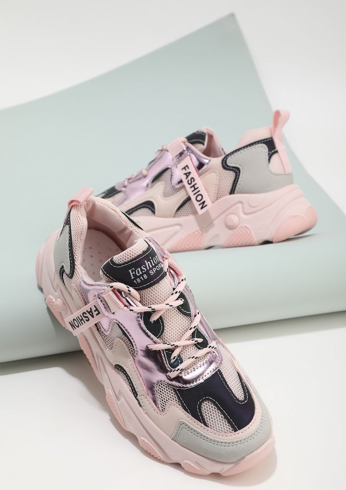 IT'S GOT WEIGHT PINK TRAINERS