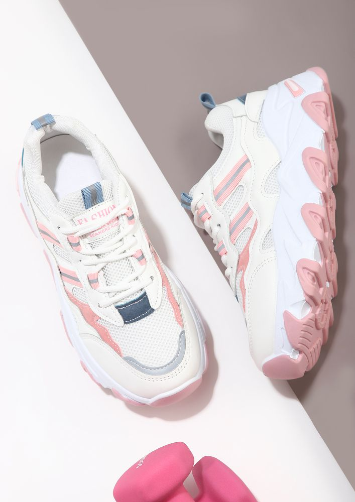 LET'S BEGIN THE JOURNEY PINK TRAINERS