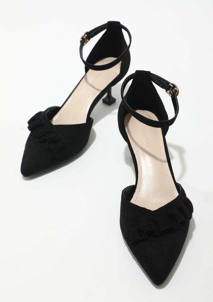 BLING AND BUCKLE BLACK SANDALS