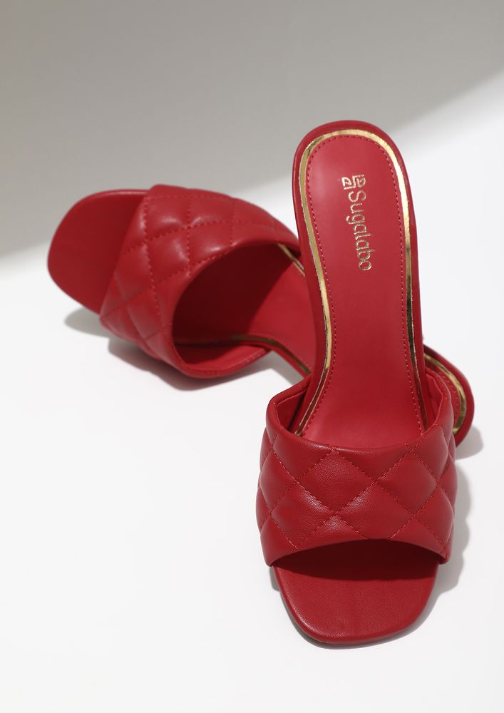 BLAZING DIVA RED PUMPS AND PEEP TOES