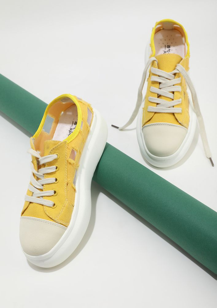 FLASH THE PRINTS YELLOW CASUAL SHOES