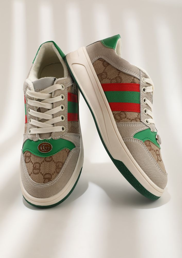 STRIPE UP GREEN CASUAL SHOES