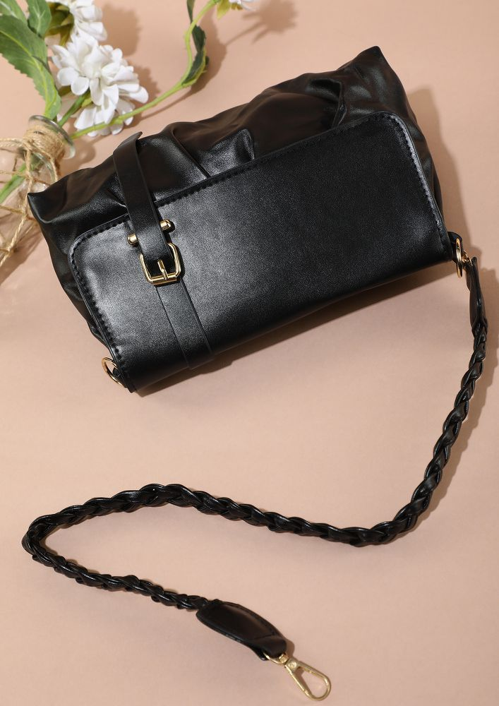 BRAIDS ARE RIGHT ON BLACK SLING BAG