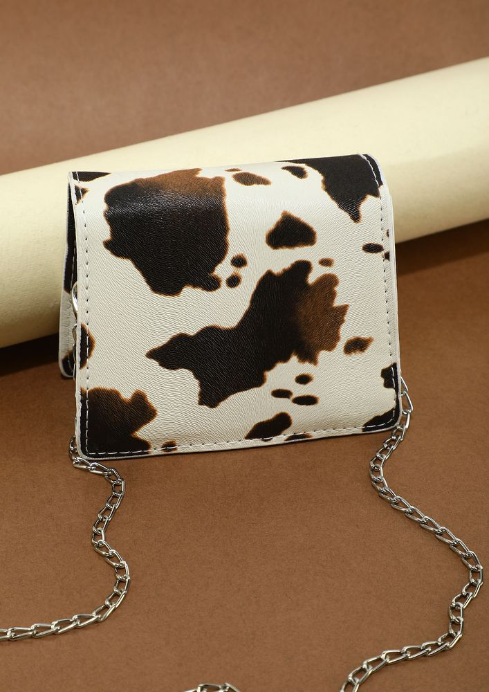 BY MY SIDE ALL THE TIME COW WHITE SLING BAG