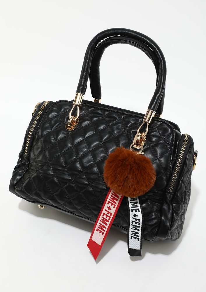 ON TO MY DREAMS BLACK HAND BAG