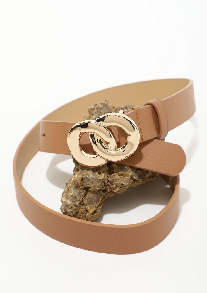 DOUBLE BUCKLE DOUBLE STYLE BROWN BELT