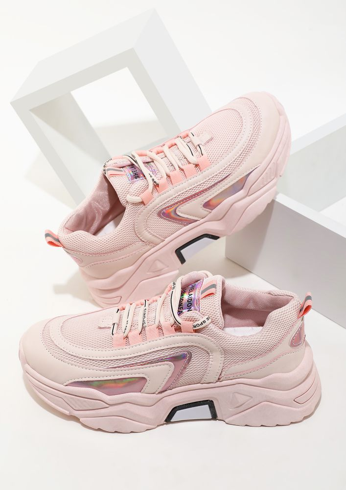ON MY WAY TO THE TOP PINK TRAINERS