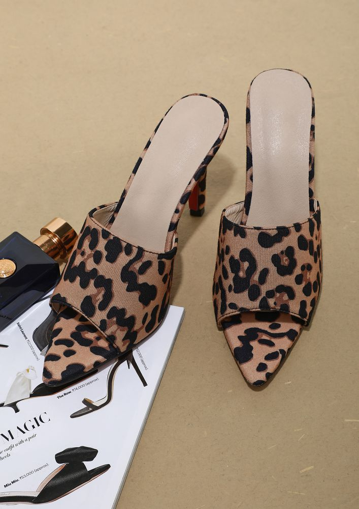 UP ABOVE THE WORLD SO HIGH LEOPARD PRINT HEELS