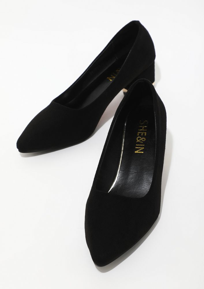 ONE STEP AT A TIME BLACK BLOCK HEEELS