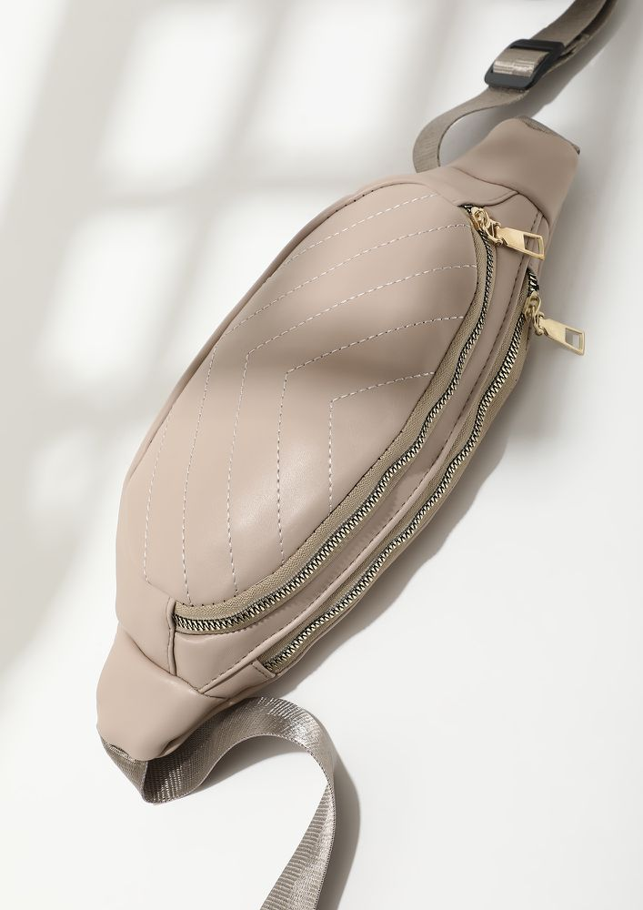 RATHER BE OUTDOORS THAN INDOORS BEIGE FANNY PACK