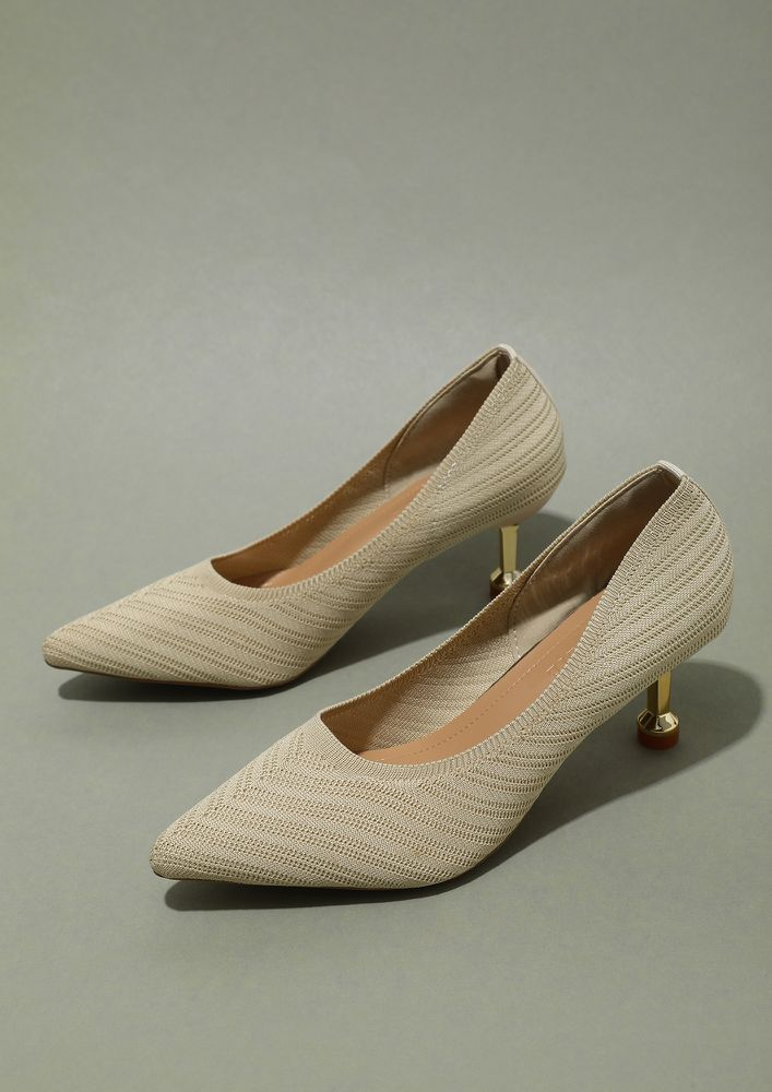 MATTE FINISH BEIGE PUMPS AND PEEP TOES