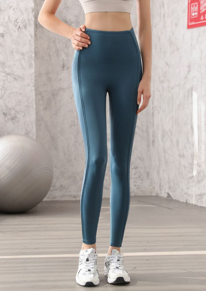 CLASSY WORKOUT DAYS HIGH WAIST BLUE FITTED PANTS