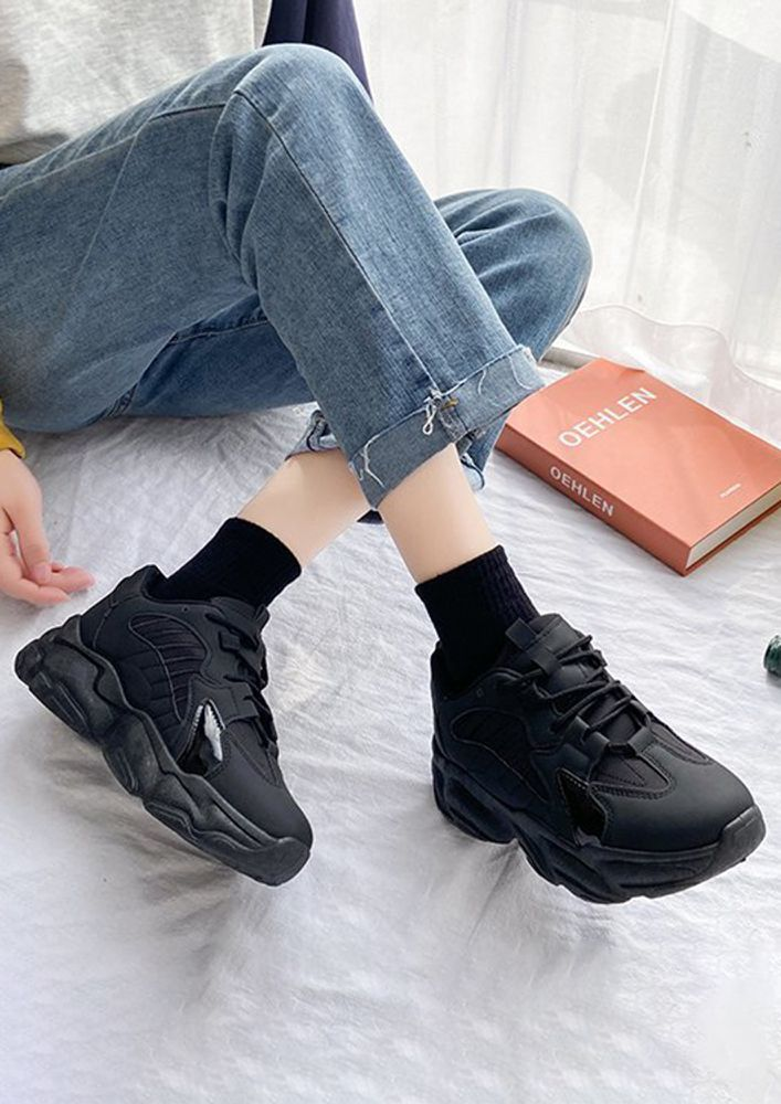 BRING ME THRILL BLACK TRAINERS