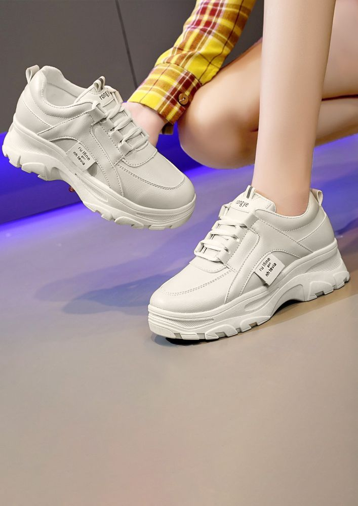 A CASUAL DAY BEIGE TRAINERS
