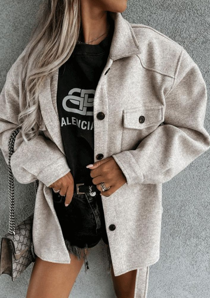 WOOLENS OUT NOW GREY COAT