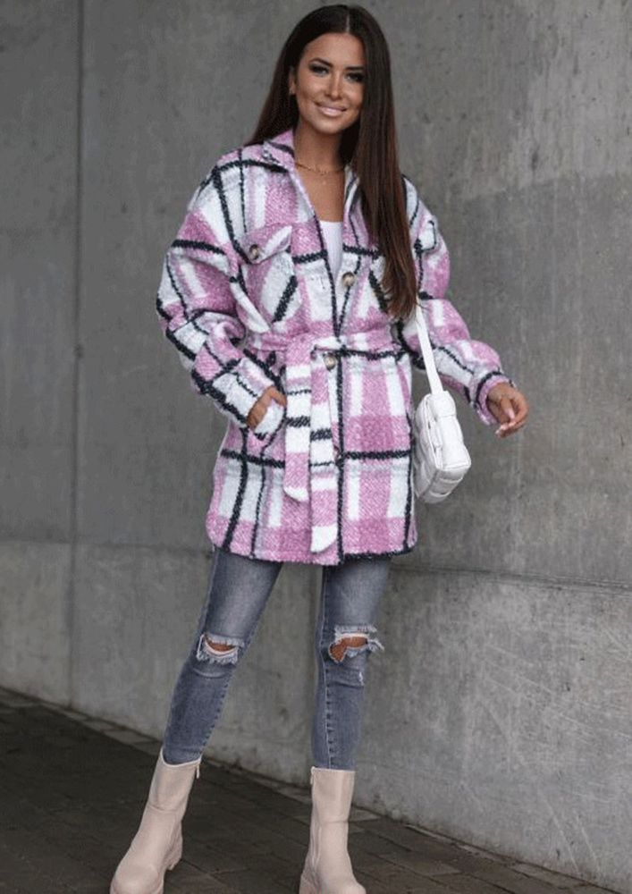 PLAID IN WINTERS PINK COAT