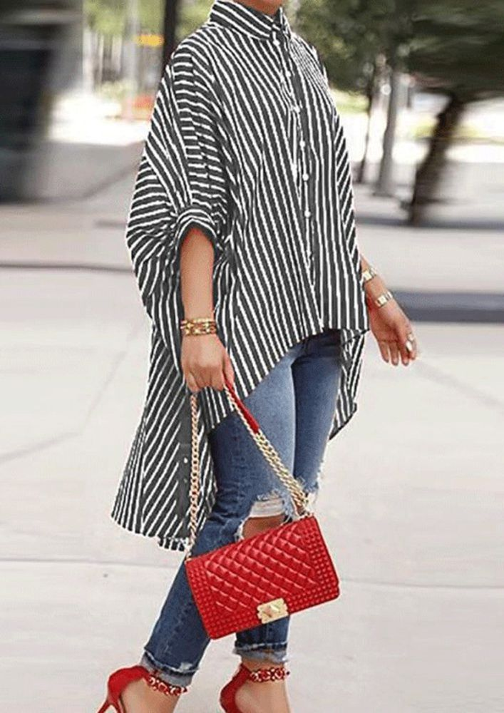 LINED IN A PONCHO BLACK SHIRT