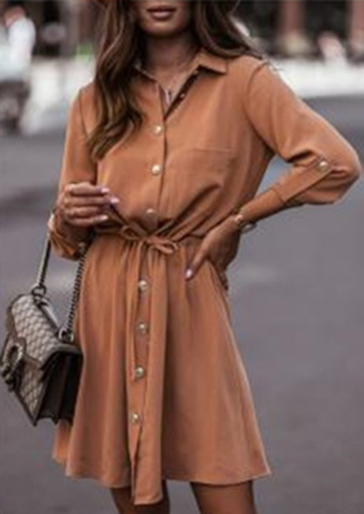 OUT ON THE WINTER DAYS KHAKI SLEEVE DRESS