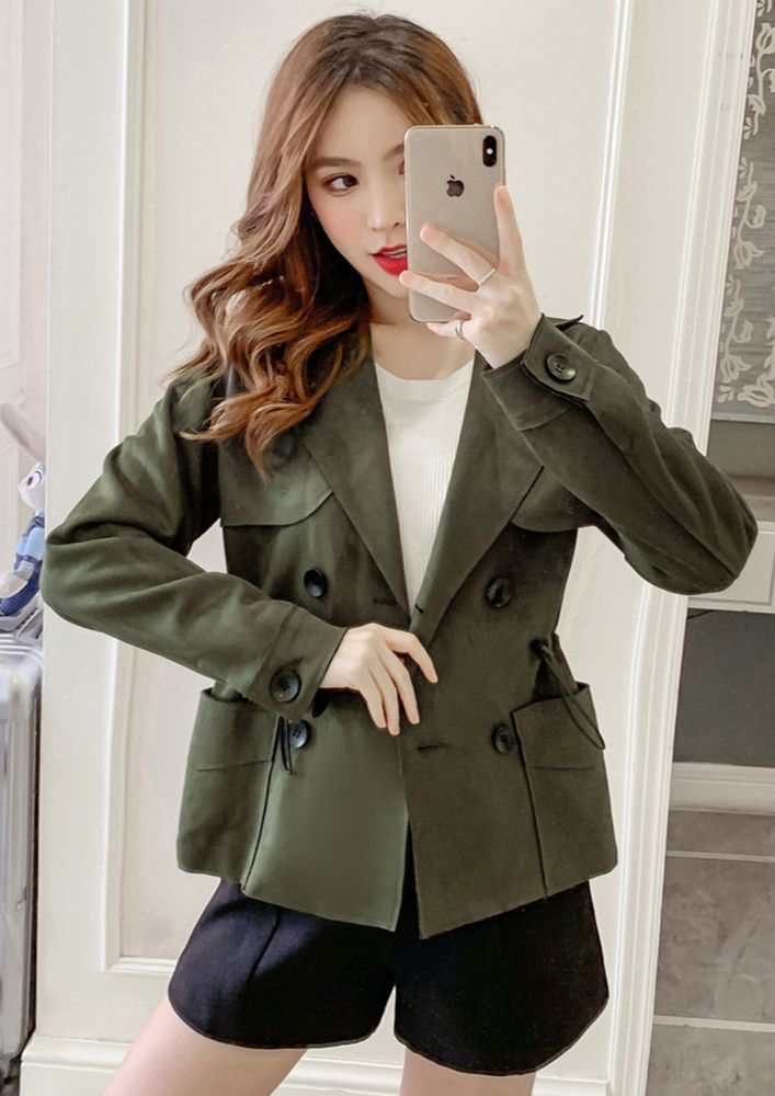CASUAL TIME GREEN OVERCOAT