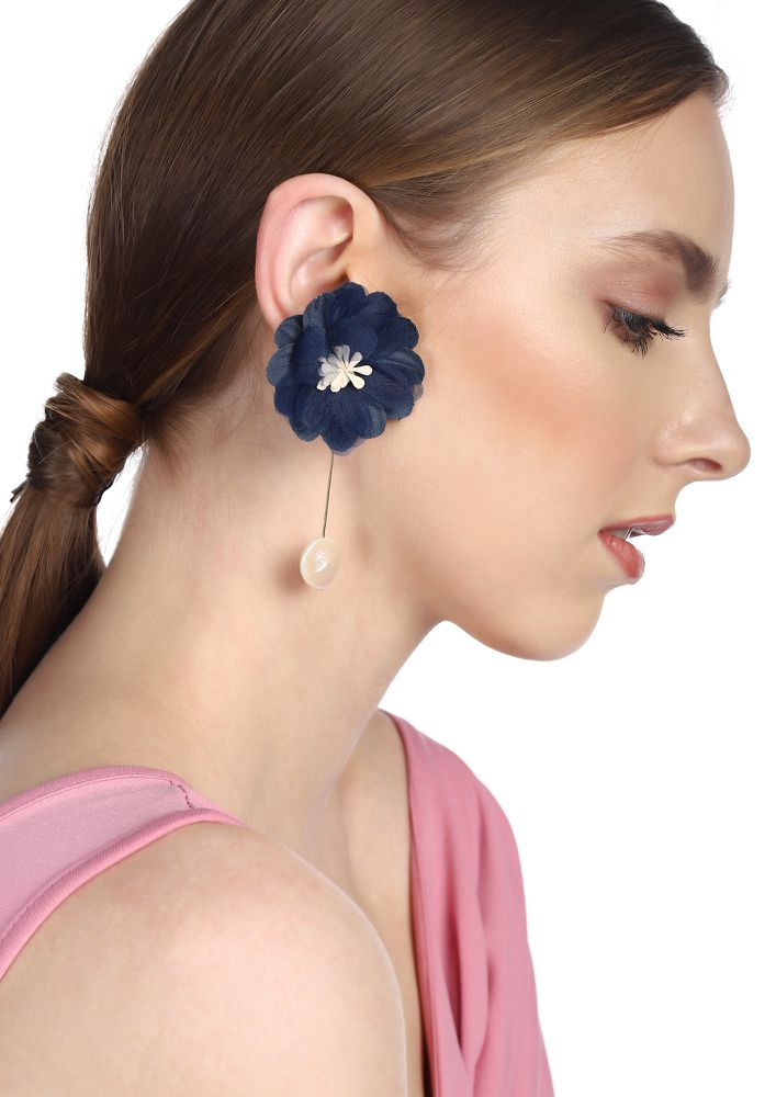GOSS BABE FLORAL OBESSION DARK BLUE EARRINGS