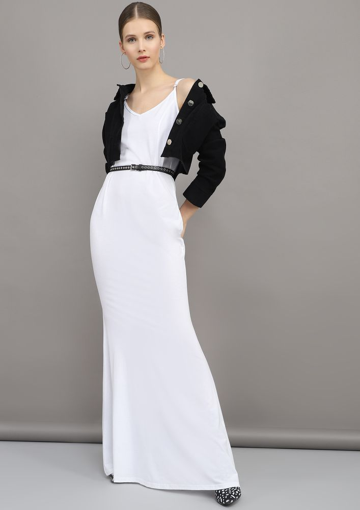 OH-SO-PRISTINE WHITE MAXI CAMI DRESS
