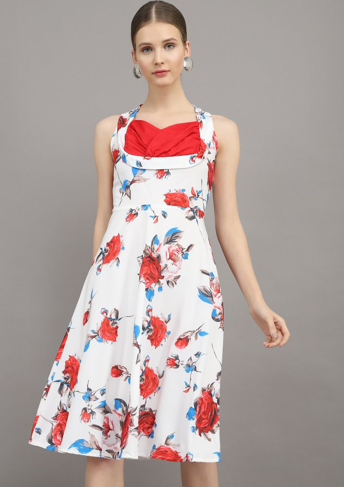 FLOWER ABOVE YOU RED SKATER DRESS