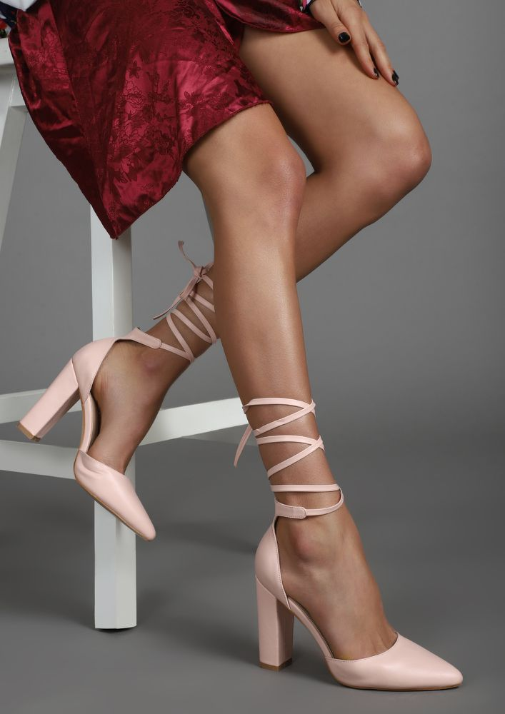 Wrap Around Nude Pink Heeled Shoes