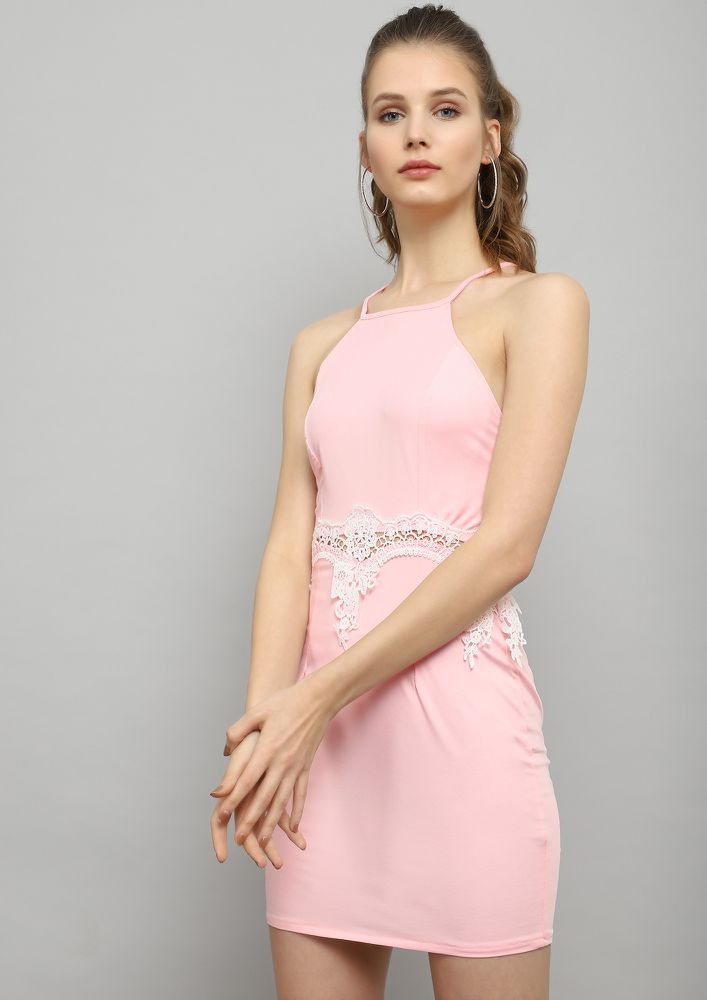 NEVER IN A HURRY PINK BODYCON DRESS