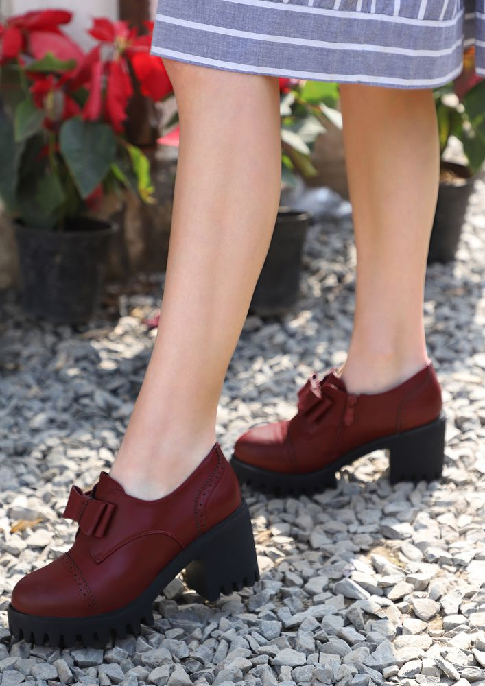 UP YOUR CLOCK-IN GAME WINE HEELED BROGUES