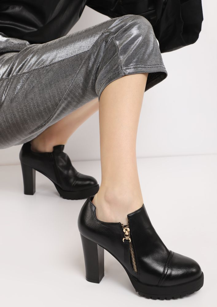 ZIP UP AND GO BLACK ANKLE BOOTS