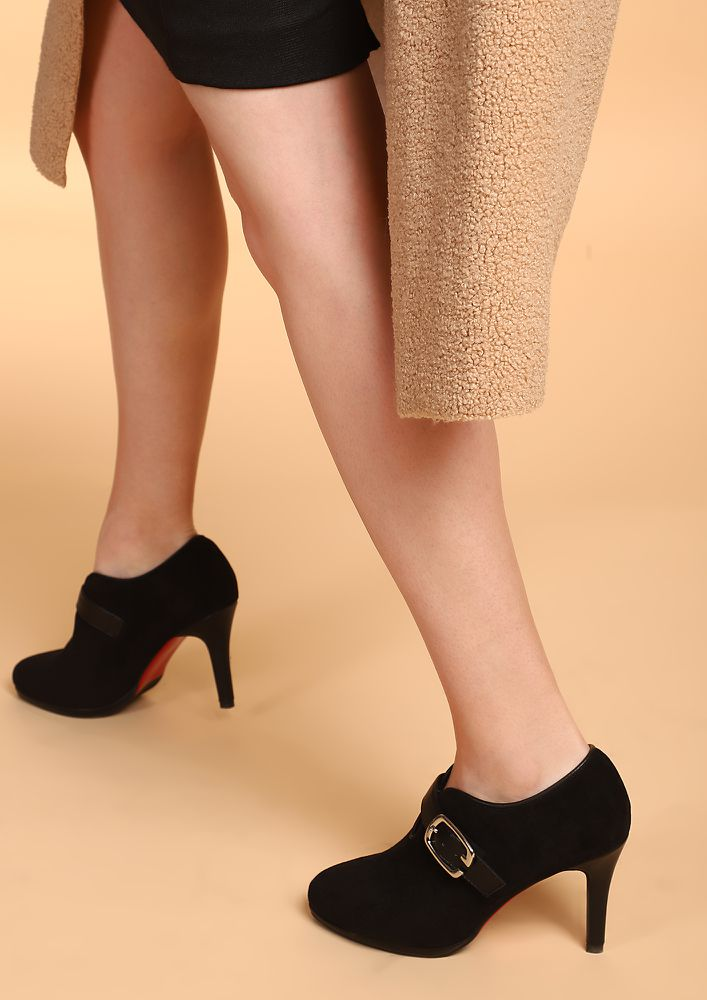 NEVER LATE FOR OFFICE BLACK HEELED SHOES