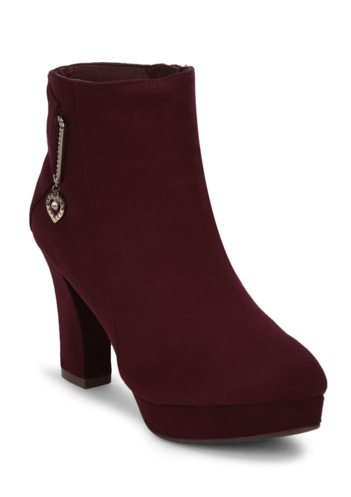 STUD MY HEART WINE ANKLE BOOTS
