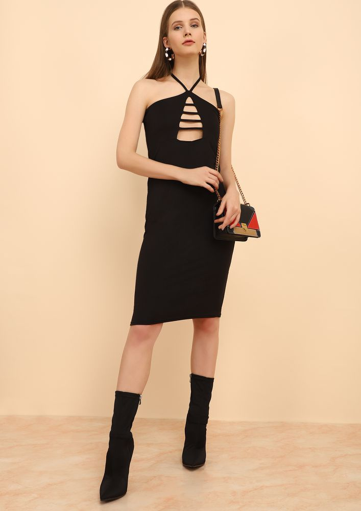 MY HALTER EGO BLACK MIDI DRESS
