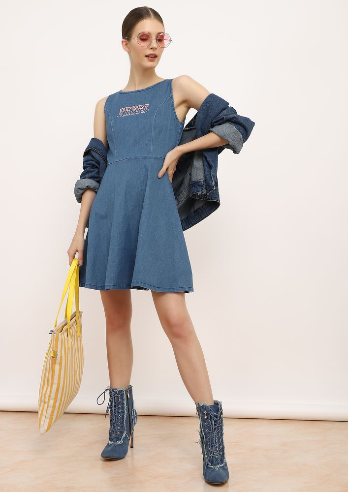 Such A Rebel Blue Denim Dress