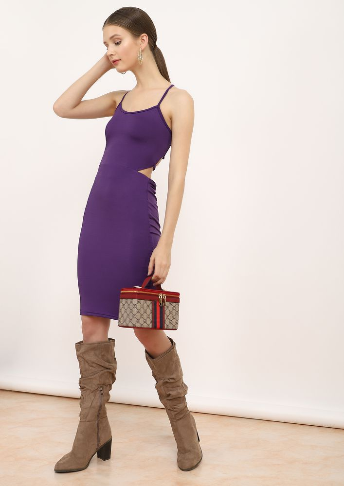 THE STRAPPY AFFAIR PURPLE PENCIL DRESS