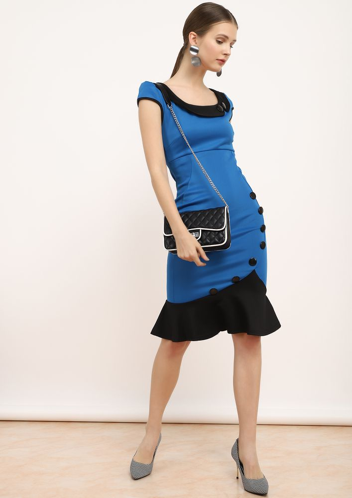 READY FOR A PICNIC BLUE MIDI DRESS