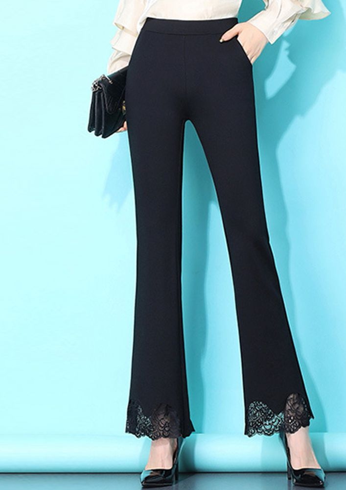 LACEY LEGS BLACK TROUSERS