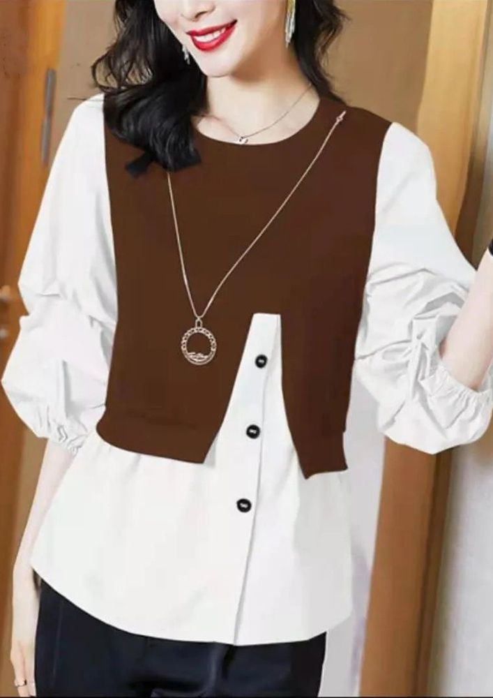 TWO IN ONE IS BROWN FUN PULLOVER