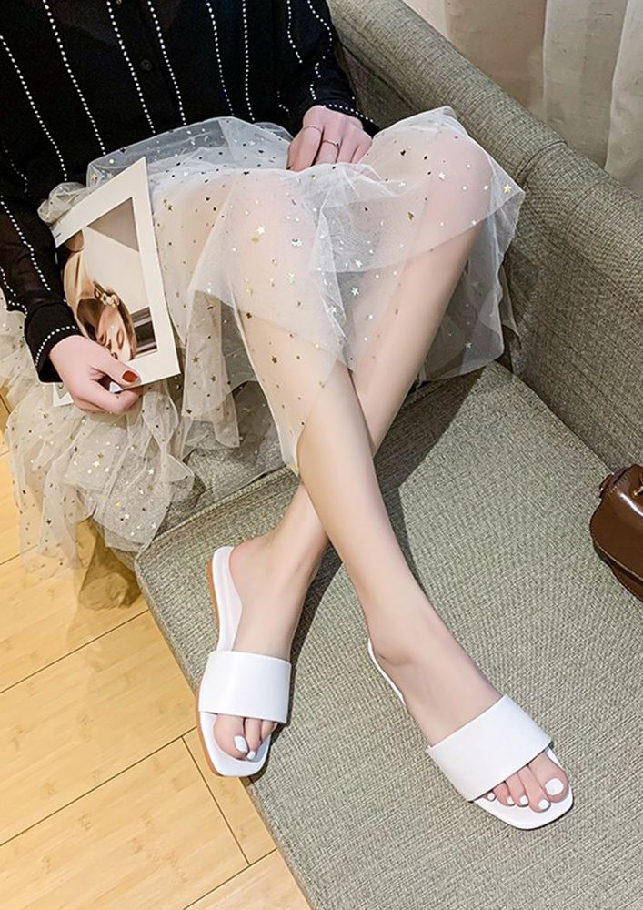 SUCH A DAY TO DAY WHITE FLAT SANDALS