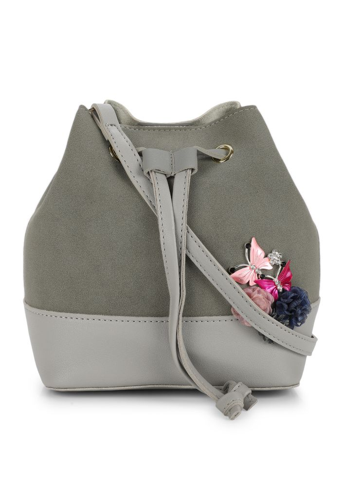 YOU ARE PRETTY GREY BUCKET BAG