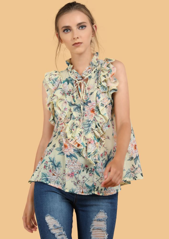 BREEZE CATCHER FLORAL YELLOW BLOUSE