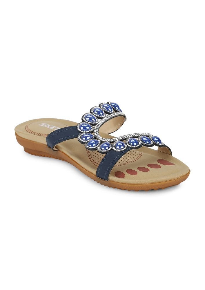 GET YOUR BASICS RIGHT BLUE FLAT SANDALS